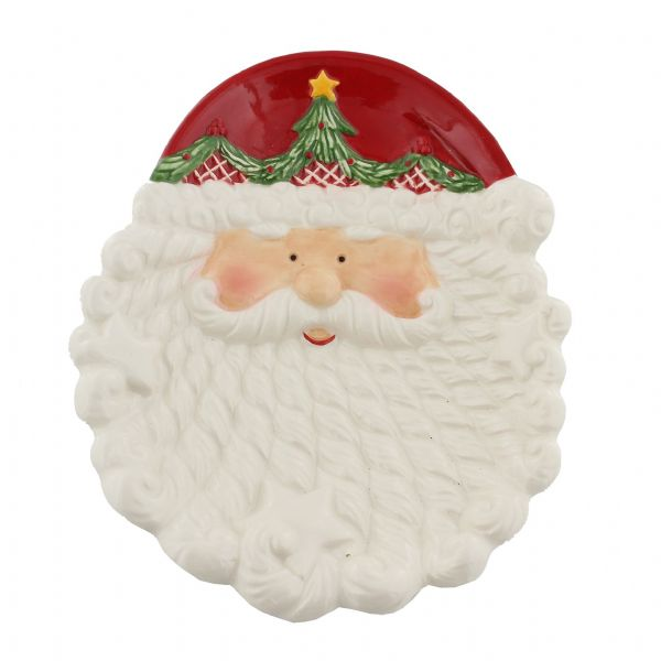 Hand Painted Father Christmas | Santa Claus Cookie Plate